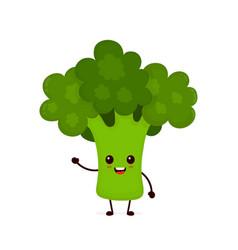 happy smilling cute broccoli vector image