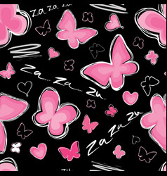 Heart butterfly seamless pattern valentine day vector