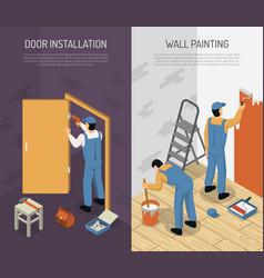 isometric renovation banners vector image