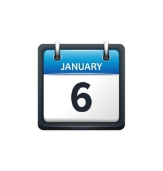 January 6 calendar icon flat vector
