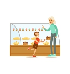 Kid And His Grandma Choosing Pastry To Buy From vector
