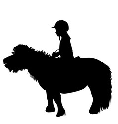 Kid riding a pony vector