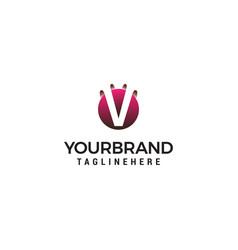 Letter v in circle shape logo design concept vector