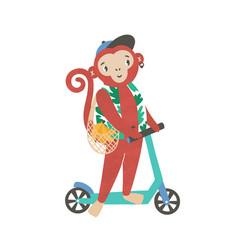 Little monkey on kick scooter flat vector