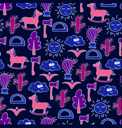 Lovely seamless pattern with horses cactuses vector