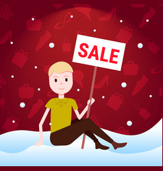 man sitting on snow holding sale board special vector image