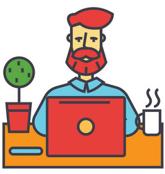 man with beard working on notebook computer vector image