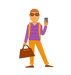 Man with handbag and smartphone flat icon vector