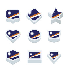 marshall islands flags icons and button set nine vector image