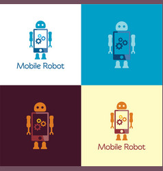 mobile robot logo and icon vector image