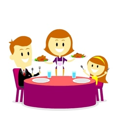 Mom Serving Meals for Family Dinner vector