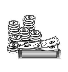 Money bills and coins vector