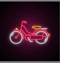 Neon bike sign glowing retro bicycle emblem vector