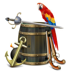Old barrel with pirate accessories vector