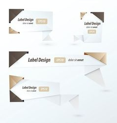 Origami 2 color style label set chocolate color vector