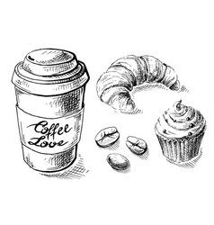 paper coffee cup and sweets vector image