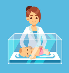 Pediatrician doctor and little newborn baby inside vector