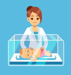 pediatrician doctor and little newborn bainside vector image