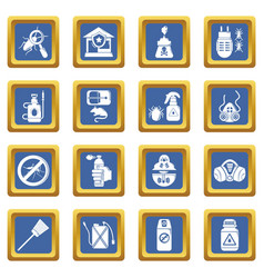 Pest control tools icons set blue square vector
