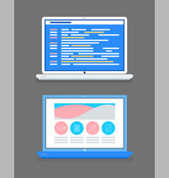 Platform online courses website with icons set vector