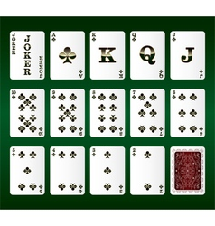 Playing cards set clubs vector