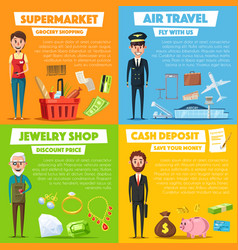 posters of shopping jewelry and air travel vector image