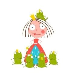 Princess and Many Prince Frogs Portrait Colored vector image