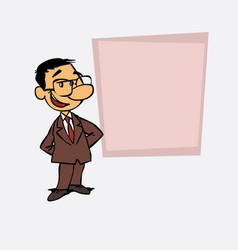 Quiet and relaxed asian businessman is showing as vector