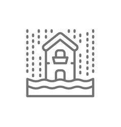 rain flooding catastrophe natural disaster line vector image