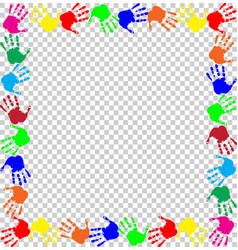 Rainbow frame with multicolored handprints border vector