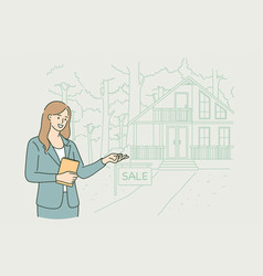 real estate agent at work concept vector image