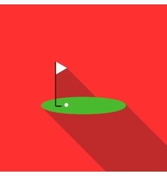 Red golf flag on a course icon flat style vector image