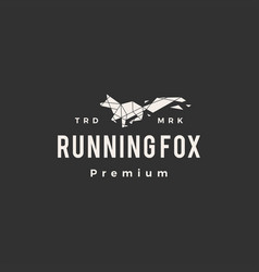 running fox geometric hipster vintage logo icon vector image