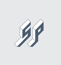 S and p - monogram or logotype isometric 3d font vector