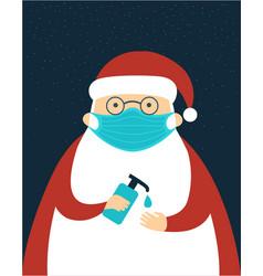 santa claus character wearing protective face vector image