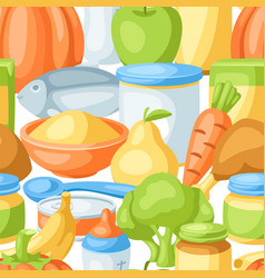 Seamless pattern with baby food items vector