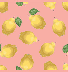 Seamless pattern with quince vector