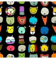 Set of animal faces sketch for your design vector