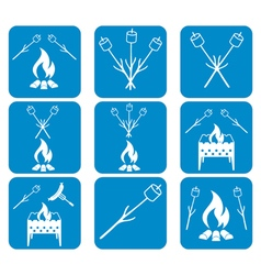 Set of Brazier zephyr and sausage icons vector