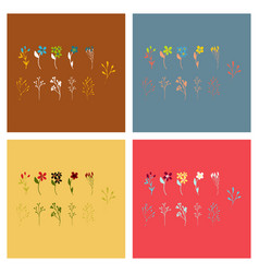 set of elegant floral elements for your design vector image