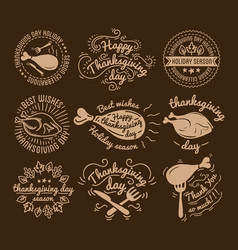 Set of labels design template to thanksgiving day vector