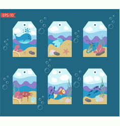 set of six ready to use cute tags vector image