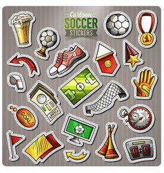Set of soccer cartoon stickers vector