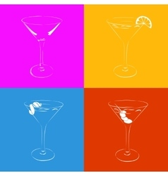 Set of the stylized martini glass in four variants vector