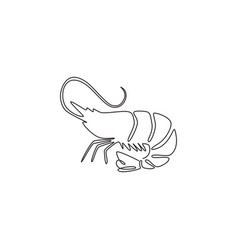 single continuous line drawing big shrimp vector image