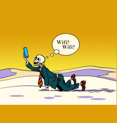 Skeleton businessman looking for wi fi vector