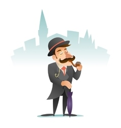 Smoking Victorian Gentleman Umbrella Cartoon vector image