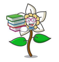 Student with book jasmine flower mascot cartoon vector