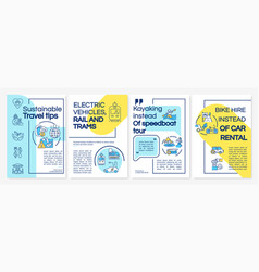 Sustainable travel tips brochure template vector