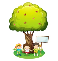 Three kids under the tree with an empty signboard vector